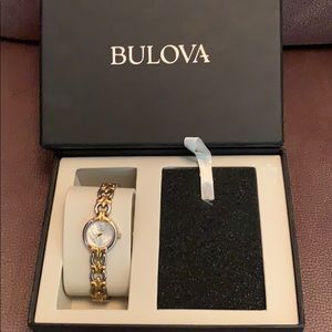 Bulova watch with mother of pearl face two toned